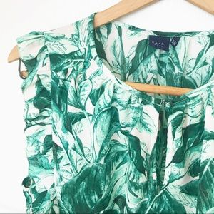 KARRI BLUE | Tropical Palm Blouse | Ruffle sleeve